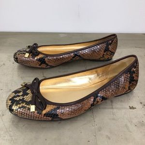 Coach Adorable Snake Print Leather Bow Flats
